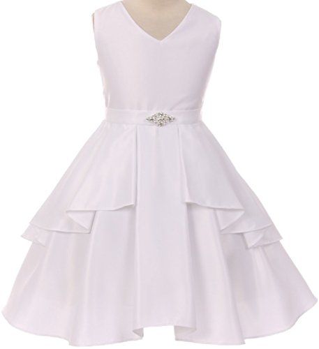 Big Girls' Solid Dull Satin Overlays Brooch Sash V Neck Flowers Girls Dresses White 14 (G35G71) Satin Graduation Dress