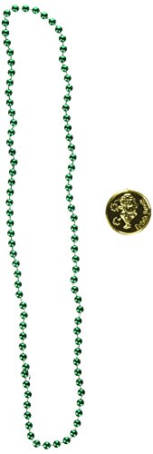 Leprechaun Loot Includes: 12 - Green Party Beads, 25 - Gold (Plastic Coins) Party Accessory  (1 count) -
