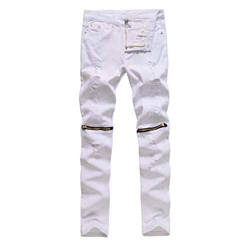 Straight Ripped Stretch Destroyed Taped Bianca Biker Fit Jeans Pantaloni Denim Skinny Dasongff Pants Slim pwxAWXfqZF