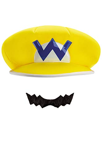 Wario Hat And Mustache (Disguise Mario and Luigi Costume Accessory, Yellow, One Size)