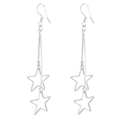 uxcell Women Metal Star Shaped Pendant Dangler Hook Eardrop Earrings Pair Silver Tone Dangling Star Earrings