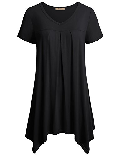 Miusey Asymmetrical Tunic, Womens V Neck Short Sleeve Pleats Handkerchief Hem Shirt Dress Plus Size Top Black XX-Large