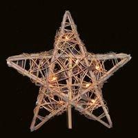 Kurt Adler 10 Light Indoor Rattan Natural Star Treetop (Topper Tree Tree Shop Christmas)