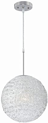 Lite Source LS-19598 Icy Pendant Lamp, Polished Steel with Clear Acrylic Shade