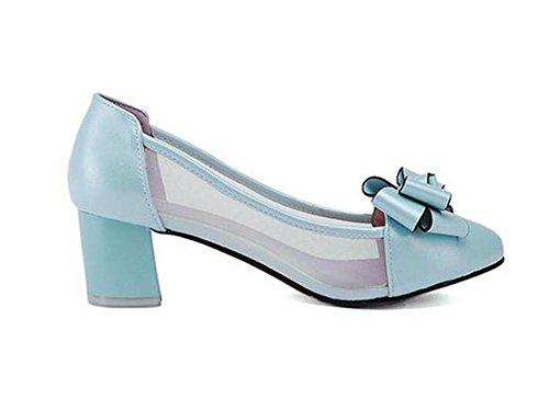Bogen Mitten Schuhe Spitz Dicken Court mit Blumen Einfache Heeled Schuhe Frauen XIE Mouth Zehe Shallow qZnPPWHa