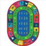 Joy Carpets Kid Essentials Language & Literacy Oval Spanish LenguaLink Rug, Multicolored, 7'8
