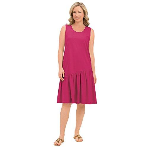 Collections Women's Cotton Knit Asymmetric Flounce Dress with Scoop Neckline, Cherry, Xx-Large ()