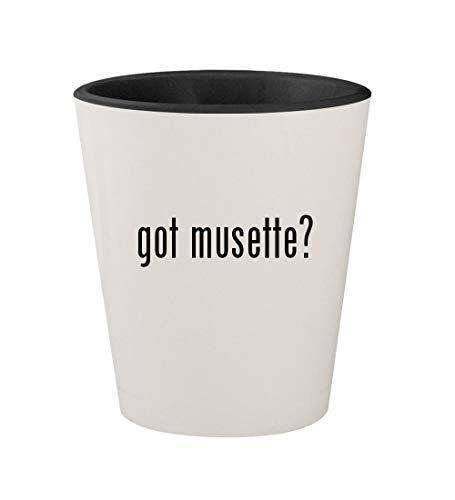 got musette? - Ceramic White Outer & Black Inner 1.5oz Shot Glass -