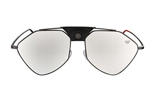 (Aviator Style Sunglasses Carl Zeiss Lenses   Men and Women   Made in Italy - LETEC - (Gun Metal Frame/Shiny Silver Lenses))