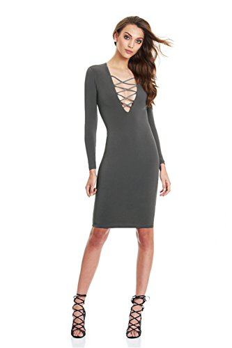 Long Sleeve Creasy Hip Hollow Slim Women's Grey Strap Sexy Dress nwrqYFCXrc