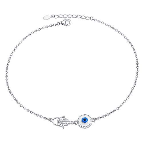 S925 Sterling Silver Anklet for Women Girl Evil Eye Hamsa Hand Charm Adjustable Foot Ankle Bracelet Jewelry Birthday Gift