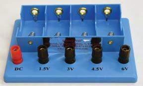 4 D-Cell Battery Holder; Blue plastic; Equipped with DC, 1.5V, 3.0V, 4.5V, and 6V jacks