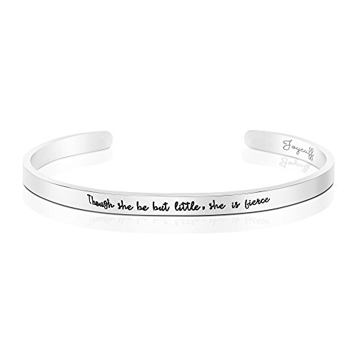 Joycuff Silver Cuff Bracelet for Girls Encouragement Gift for Her Mantra Saying Inspirational