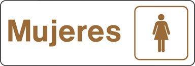 Hy-Ko Spanish Sign Brown 3'' X 9'' Mujeres,Women Plastic by Hy-Ko