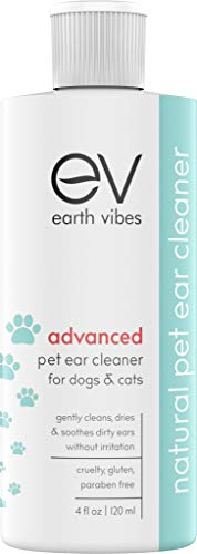 Earth Vibes Dog Ear Cleaner - Pet Cat Ear Cleaner - Advanced Natural Solution Treatment for Itching, Head Shaking, Discharge & Smelly Ears Due to Yeast & Bacteria Infection - Made in The USA