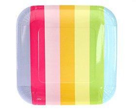 12 piatti di carta con strisce arcobaleno Sambellina