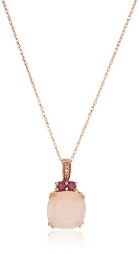10K Rose Gold Natural Pink Opal with Rhodolite Garnet and Created White Sapphire Pendant Necklace, 18""