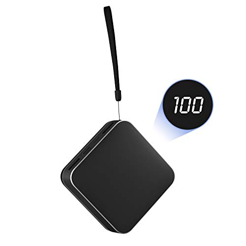 Portable Charger Power Bank 10000mAh External Battery Pack Charger,Smallest LCD Display 2 USB Outputs Cell Phone Backup Battery Charger Compatible with Smartphone,Android Phone,Tablet and More,Black