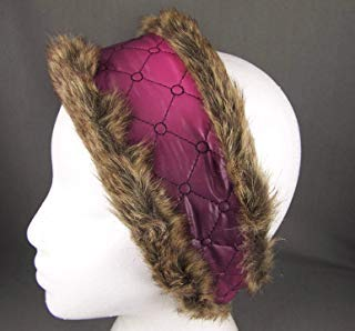 Fur Quilted Hat - Pink Purple faux fur lined quilted ear warmer muffs head wrap hat cover ski R-5172