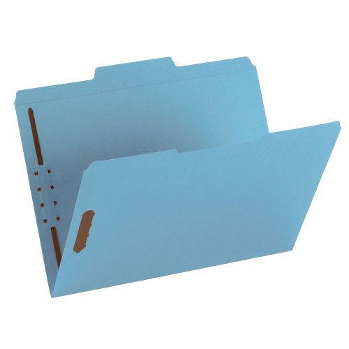 Smead Fastener File Folder, 2 Fasteners, Reinforced 1/3-Cut Tab, Letter Size, Blue, 50 per Box (12040) (Manila 1 Fastener)