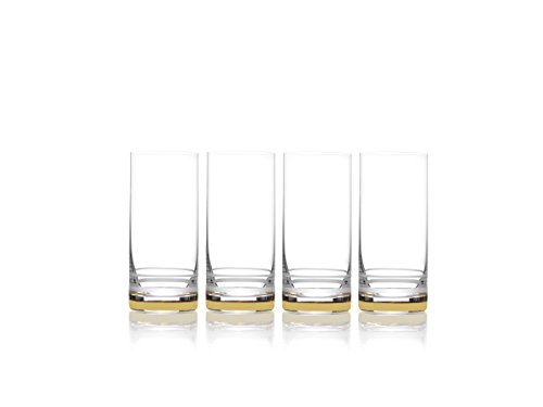 Mikasa Lux Gold Highball Glass, 17-Ounce, Set of 4