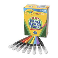 Paint Brush Pens, No Drip, 40/BX, Assorted, Sold as 1 Box