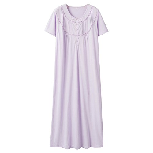 - Keyocean Women's Nightgown 100% Cotton Lace Trim Short Sleeve Long Sleepwear (L, Light Purple)