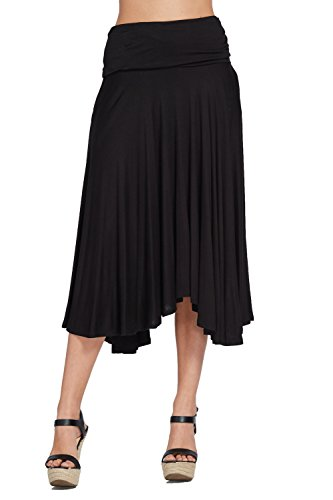Annabelle Womens Fold Over Waistband Comfy Midi Skirts with Side Pockets
