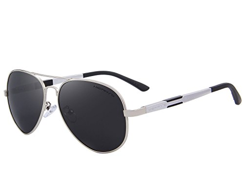MERRY'S Men HD Polarized Sunglasses Aluminum Magnesium Driving Sun Glasses S8285 (Silver, 60)