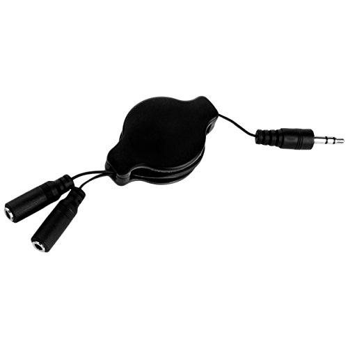 (SumacLife RetractHeadphoneSplitBLK Retractable 3.2-Feet Headphone Splitter Cable, Black)