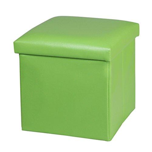 NISUNS OT01 Leather Folding Storage Ottoman Cube Footrest Seat, 12 X 12 X 12 Inches (Green)
