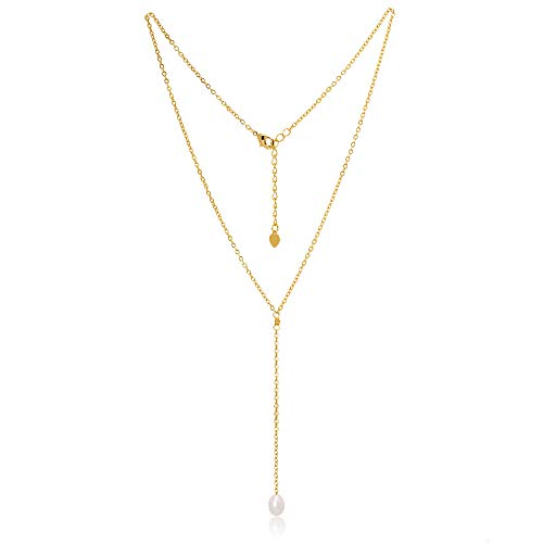 18K Gold Chain Y-shaped Necklace Cultured Single Pearl Choker Pendant Lariat Dainty Jewelry for Women ()