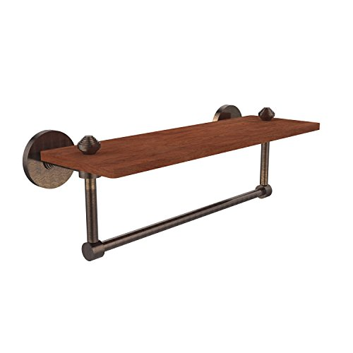 Allied Brass SB-1TB-16-IRW-VB South Beach Collection 16 Inch Solid IPE Ironwood Shelf with Integrated Towel Bar Venetian Bronze ()