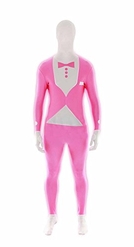 [Morphsuits Fluro Tux Pink M, Pink / White, Medium] (White Morphsuit)