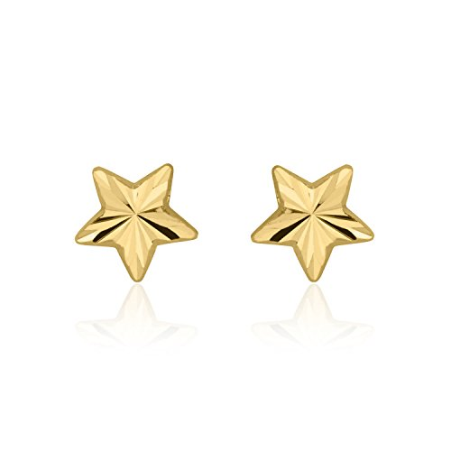 14K Solid Yellow Gold Star Screw Back Stud Earrings for Teens and Women Kids Gift Children by youme Gold Jewelry