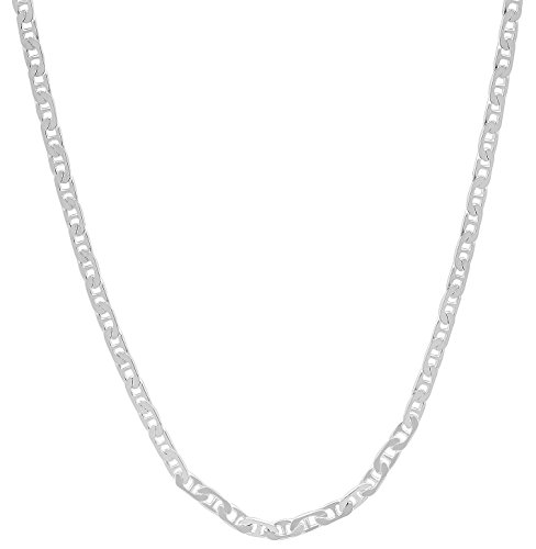 1.8mm 925 Sterling Silver Italian Crafted Beveled Flat Mariner Link Chain, 30