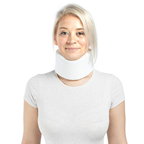 Soft Foam Neck Brace Cervical Collar, Adjustable Neck Support Brace for Sleeping - Relieves Neck Pain and Spine Pressure White Medium