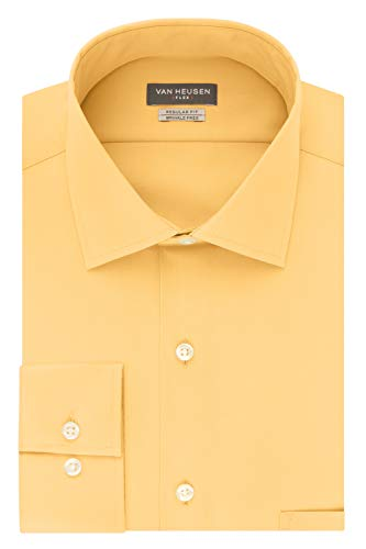 Van Heusen Men's Dress Shirt Flex Regular Fit Solid, Sunburst, 16