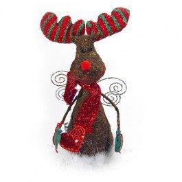 Funky Large Chocolate Brown Moose Reindeer Angel Christmas Tree Top