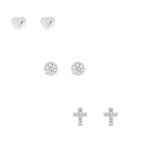 (Claire's Girl's Sterling Silver Fireball Heart Stud Earrings - 3 Pack)