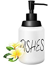 CATTREES Ceramics Dishes Soap Dispenser for Kitchen and Bathroom, Modern Farmhouse Style Ceramic Dishes Liquid Soap Dispenser-for Kitchen Counter Décor, White Bottle Lettering with Black Pump(16oz)