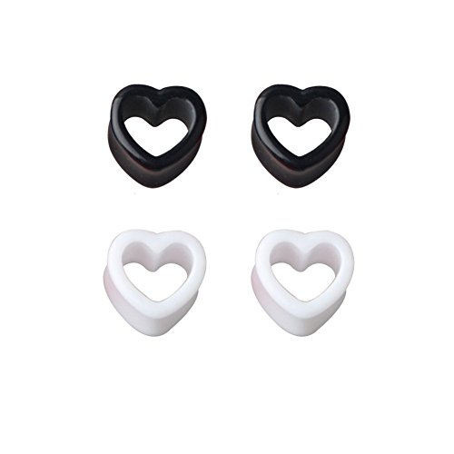 2 Pairs White/Black Love Heart Solid Acrylic Ear Plugs Flesh Tunnels Double Flared Expander Stretcher Piercing Jewelry 8g-1/2(3mm-12mm) (4G (5mm))