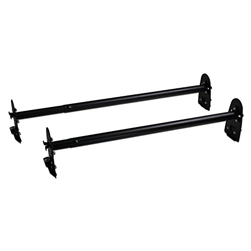 AA-Racks Model X36 Two-Bar Rain-Gutter Roof Rack Heavy-Duty Adjustable Steel Rack Sandy Black