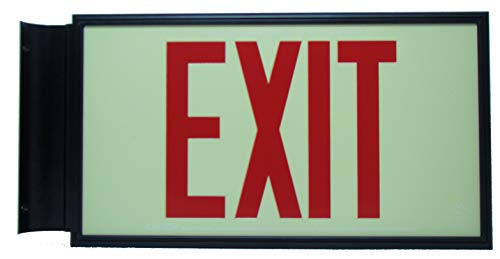 Glow in The Dark Emergency EXIT Signs. Non Electric UL Listed. Industrial Grade. Photo Luminescent. (75 Feet Red, Black Frame & Ceiling Mount) by Elasco Products (Image #1)