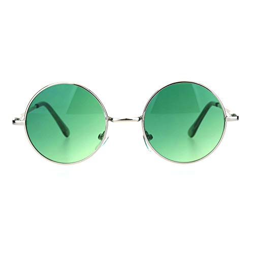 - SA106 Color Groovy Hippie Wire Rim Round Circle Lens Sunglasses Gradient Green