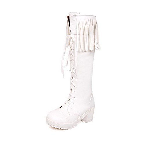 Toe B Heels and Platform 6 PU Closed M US 5 AmoonyFashion White Boots Tassels Womens Round Solid Kitten with taxSp4wqp