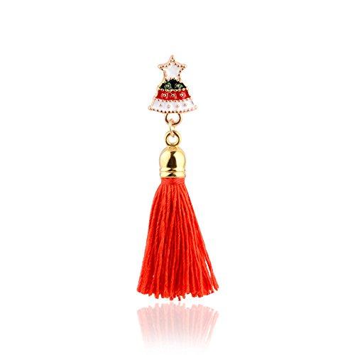 MJartoria Enamel Christmas Tree Rhinestone Tassel Brooch Bouquet Pin Jewelry Xmas Deco