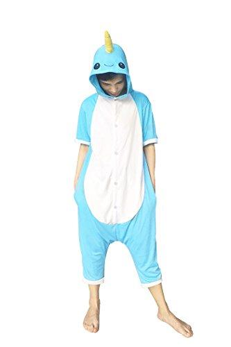 WOTOGOLD Animal Cosplay Costume Summer Adult Blue Narwhal Pajamas Short Sleeve Blue Summer (Adult Fleece Pjs)