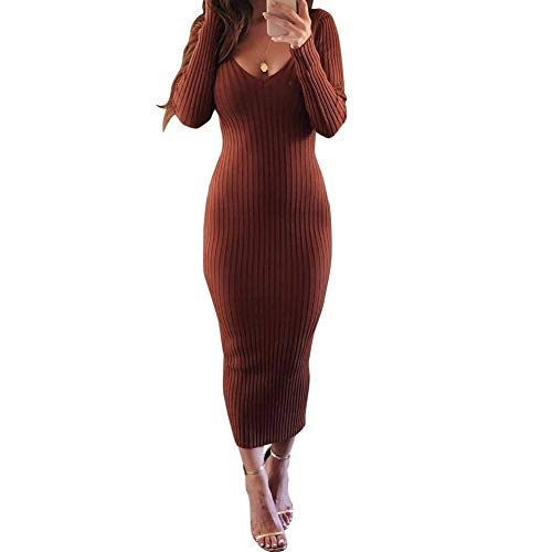 Zyyfly Women Sheath Dress Long Sleeve Sexy V Neck Rib Sweater Dress Brown M ()