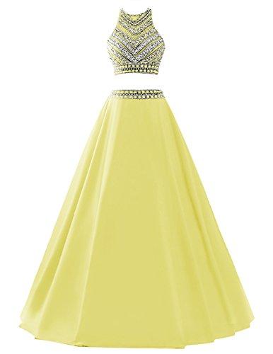 Dresstells reg;Vestido De Fiesta Dos Piezas Largo Halter Con Cuentas Amarillo 40: Amazon.es: Ropa y accesorios